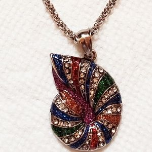 Sterling silver necklace w/ multicolored Crystal's